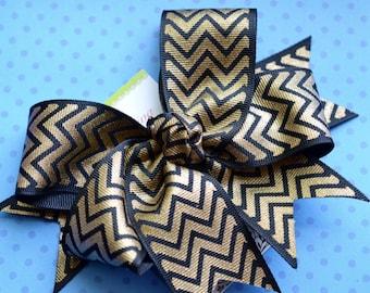 Black and Gold Chevron XL Diva Bow