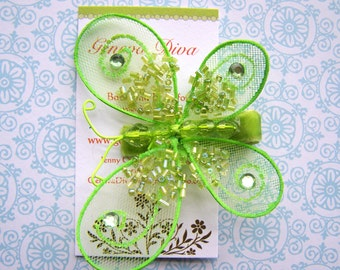 Glitz and Glam....Lime Green Sequined Butterfly Hairclip