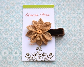 Brown Burlap Flower Clip