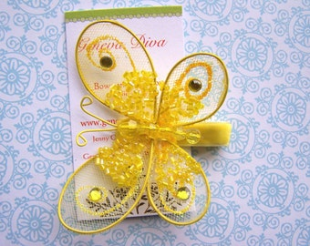 Glitz and Glam.....Yellow Sequined Butterfly Hairclip