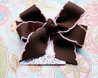 Chocolate Brown With Pale Pink Crochet Edge Classic Diva Bow