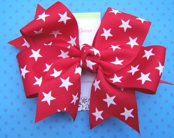 Red with White Stars XL Diva Bow