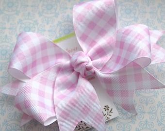 Light Pink Gingham XL Diva Bow