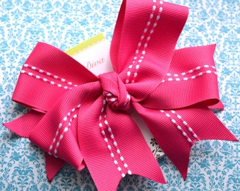 In Stitches...Hot Pink XL Diva Bow