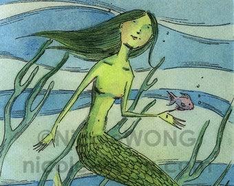 Original ACEO Watercolor Painting and Ink Drawing -- Mermaid