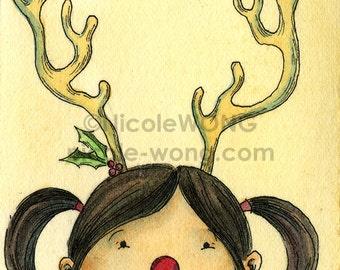 Original ACEO Watercolor Painting and Ink Drawing Artwork -- Reindeer Kid