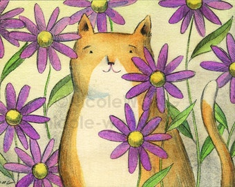 Original ACEO Drawing and Painting -- Daisies