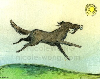 Original ACEO Watercolor Painting and Ink Drawing -- Run Free