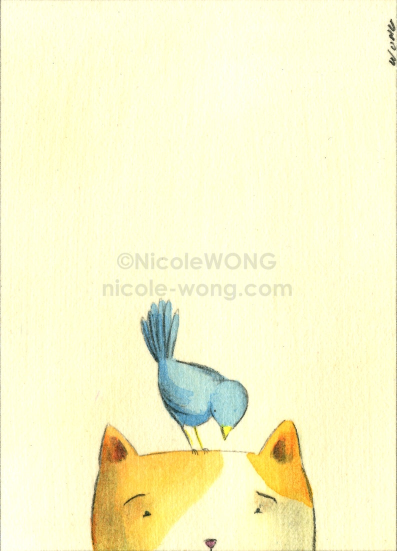 Perch Original ACEO Drawing and Painting