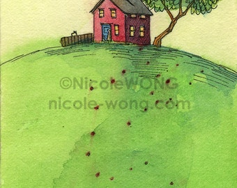 Original ACEO Painting -- Red house on the hill
