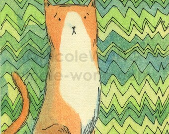 Original ACEO Watercolor Painting and Ink Drawing -- Anxious Cat is Anxious