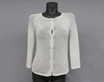 NO.212 Dusty Gray Cotton Gauze Three-Quarter Sleeves Cardigan Button Front Top