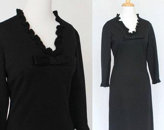 f88341b3877c 60's Black Knit Vintage Dress / Long Sleeves / Wool Jersey Knit / Little Black  Dress / Carol Craig / Small