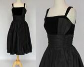 50 39 s 60 39 s Vintage Cocktail Dress Black Taffeta and Velvet Formal Dress XSmall to Small