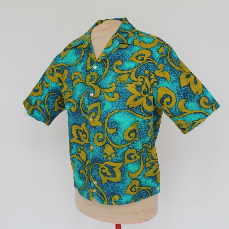 60/'s Men/'s Hawaiian Print Shirt  Bark Cloth  Short Sleeves  Iolani  Hapa Jac  Medium
