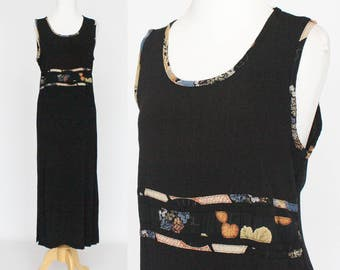 70's Sleeveless Maxi Dress / Black Crinkle Rayon Sheath / Long Boho Dress / Medium
