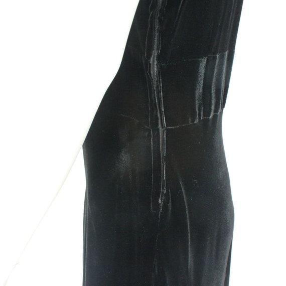 30's Black Velvet Gown / Flared Skirt / Draped Sl… - image 8