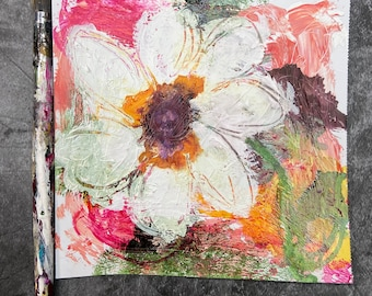 """TEXTURED FLOWER - Original 6""""x6"""" Mixed Media Abstract on Paper, Expressionism, Contemporary Painting, Canadian Artist"""