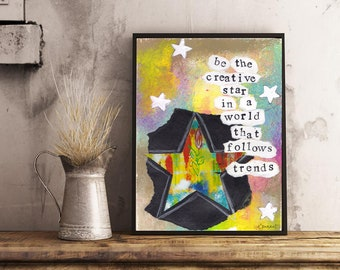 Be the Creative Star: Inspirational Printable Wall Art, Digital Download, Canadian Artist