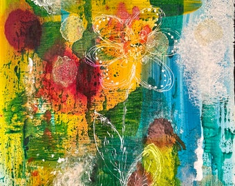 """Lost Floral 8""""x10"""" Abstract Floral Original Art on Cradled Panel, Contemporary, Wall Art, Canadian Artist, Painting"""