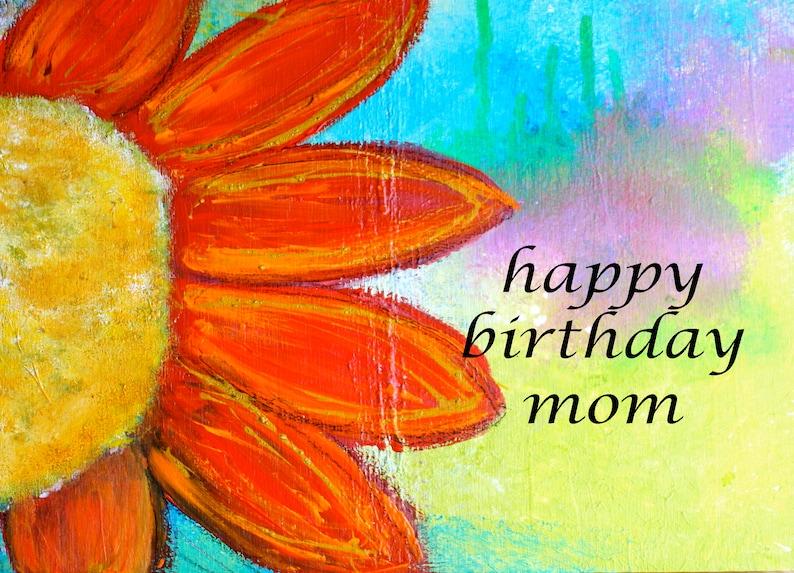 Happy Birthday Mom Colorful 5x7 Blank Greeting Card Birthday Stationery Boho Floral Mom