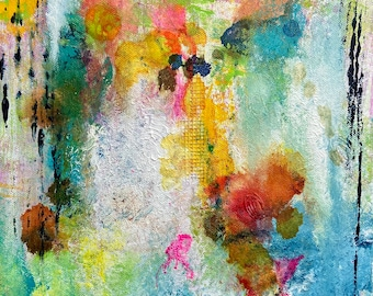 """Transformed 11""""x14"""" Colorful Original Expressive Abstract on Canvas, Intuitive Art, Wall Art, Canadian Artist, Painting, Vibrant"""