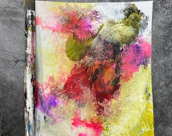 """ENGLISH GARDEN - Original 5""""x6"""" Mixed Media Abstract on Paper, Expressionism, Contemporary Painting, Canadian Artist"""