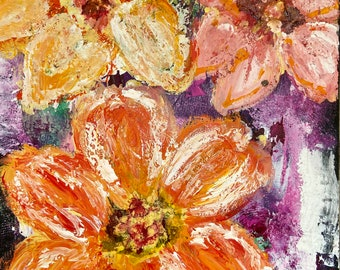 "Bohemian Bouquet 9""x 12.6"" Mixed Media Original Floral Painting, Intuitive Art, Wall Art, Canadian Artist"
