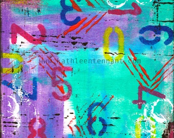 PIck Your Number  Mixed Media Art Print - Unframed Art Print, Home Decorating, Art with Numbers, Number Art
