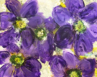 """The Bombini Abode 6""""X6""""Mixed Media Original Floral Painting, Wall Art, Home Decor, Canadian Artist"""