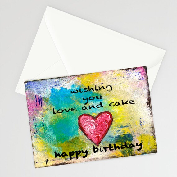 Love And Cake 5 X7 Blank Birthday Card With Envelope Stationery Notecard Heart Love Happy Birthday