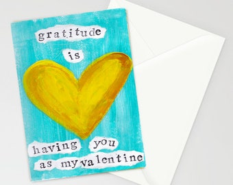 """Gratitude is Having You as My Valentine 5""""x7"""" Blank Greeting Card with Envelope, Valentine's Day, Special Occasion Cards, Hearts, Love"""