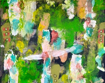 Fence Posts Mixed Media Original Abstract Painting on Wood Panel, Wall Art, Home Decor
