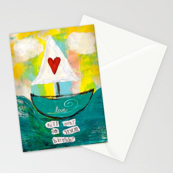 Sail Away 5x7 Blank Birthday Card With Envelope