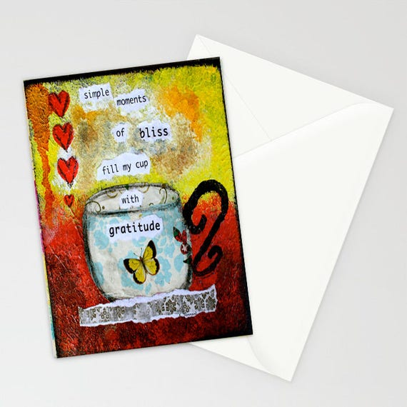 Gratitude Cup of Gratitude Thankful 5x7 Blank Greeting Card with Envelope Simple Moments of Bliss Thank You Card Hearts