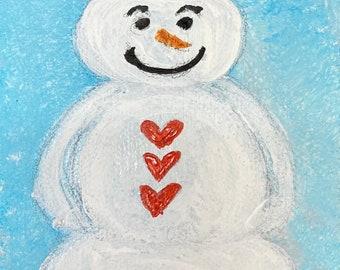 "Blue Sky Snowman Original Painting on 4""x6"" Canvas, Seasonal, Home Decor"
