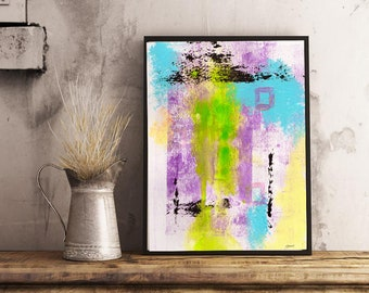Abstract Life Printable Wall Art, Digital Download, Mauve, Yellow, Black, Expressionism, Home Decor, Instant Wall Art, Canadian Artist