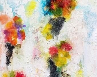 "Kisses on a Hot Air Balloon 16""x20"" Mixed Media Abstract Original Art on Wood Panel, Canadian Artist, Wall Art, Interior Design"