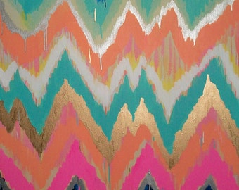 Custom ikat chevron 30x40 Painting by Jennifer Moreman