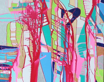 Original paintings  2, 24x48 Curiouser & Curiouser by Jennifer Moreman