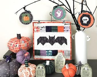 Halloween DUO Pattern SALE- Batty mini quilt AND Halloween Icon Felt Applique patterns