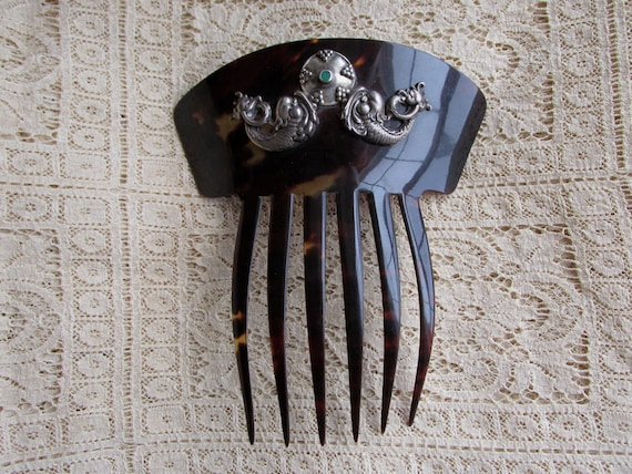 Beautiful. Hair Accessory .... 14K Solid Gold Trimmed Ladies Hair Comb Victorian Art Nouveau