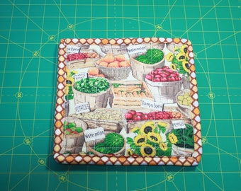 Quilted  pot holder. reversable