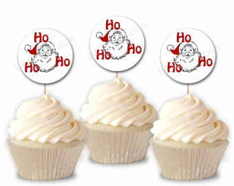 DIY Christmas Party Christmas Party Set of 12 Christmas Cupcake Topper Jingle Bells Cupcake Toppers