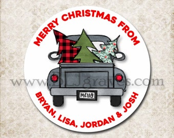 Personalized Christmas Vintage Truck Stickers, Merry Christmas Tree Canning Labels, Gift Giving Labels, Mason Jar Favor Stickers D332