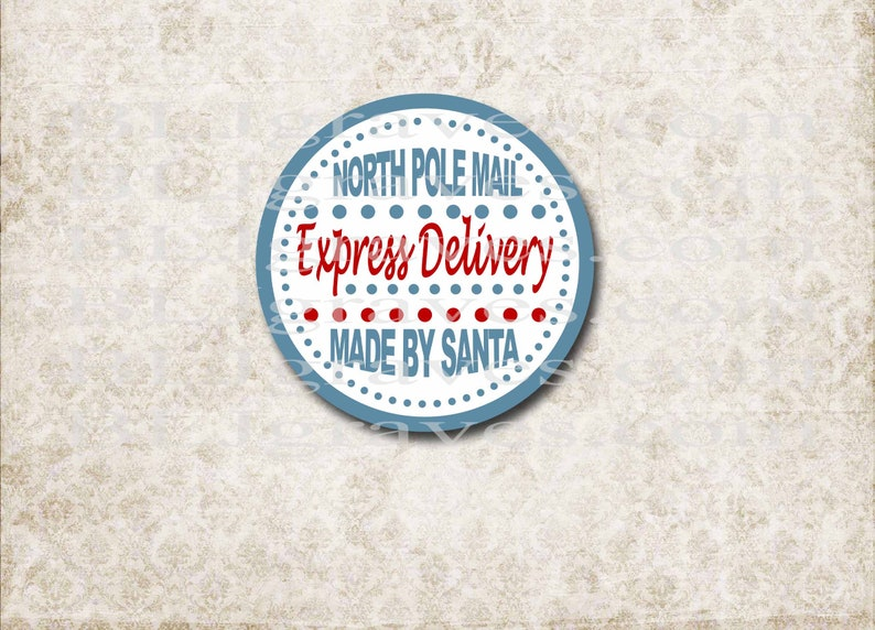 Santa Gift Stickers North Pole Stickers Express Delivery image 0