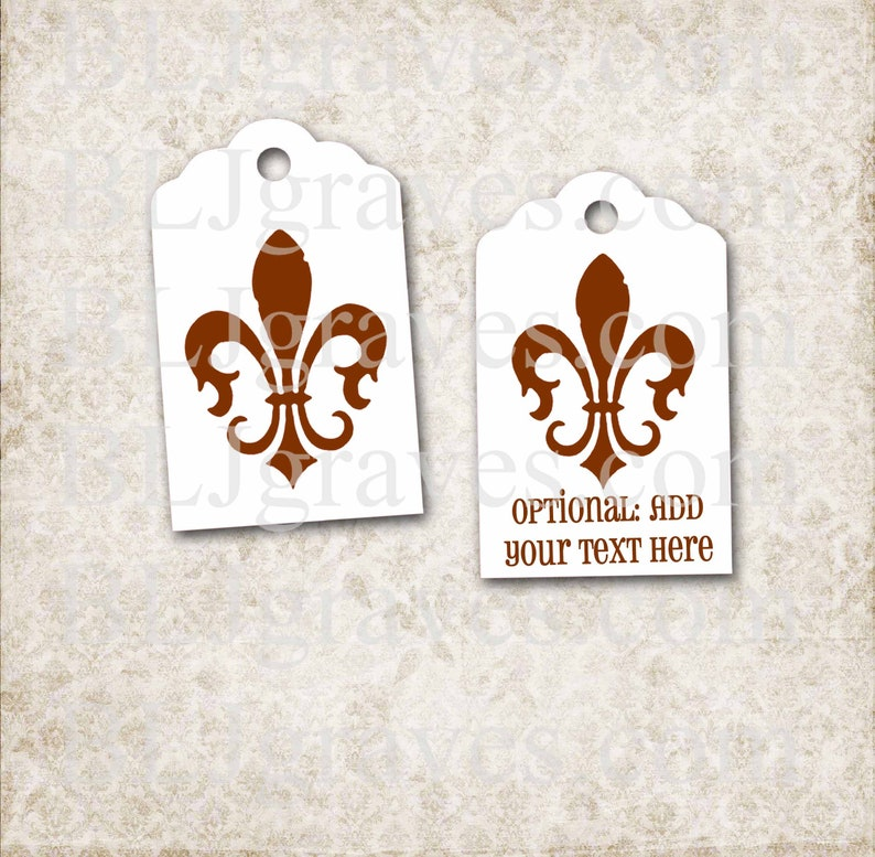 Personalized Brown Fleur de lis Tags Custom Mardi Gras Tags image 0