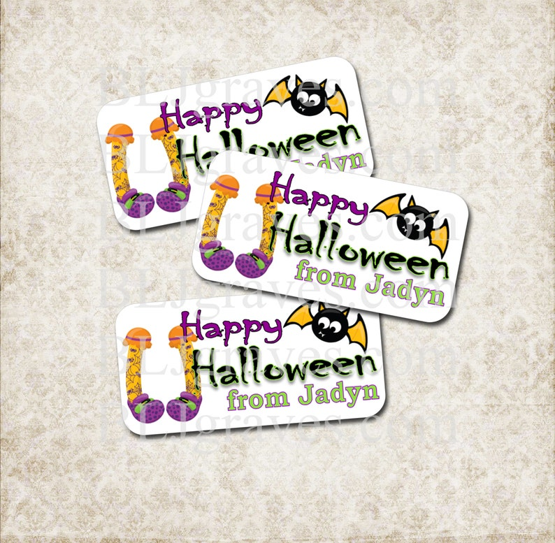 Personalized Witch Legs Bat Halloween Party Stickers Party image 0
