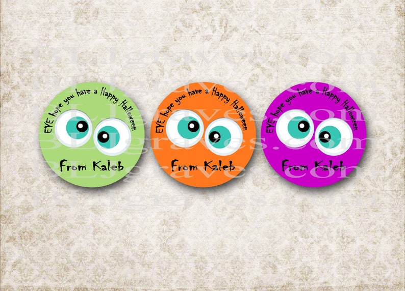 Personalized Halloween Stickers  Monster Eyes  Halloween image 0