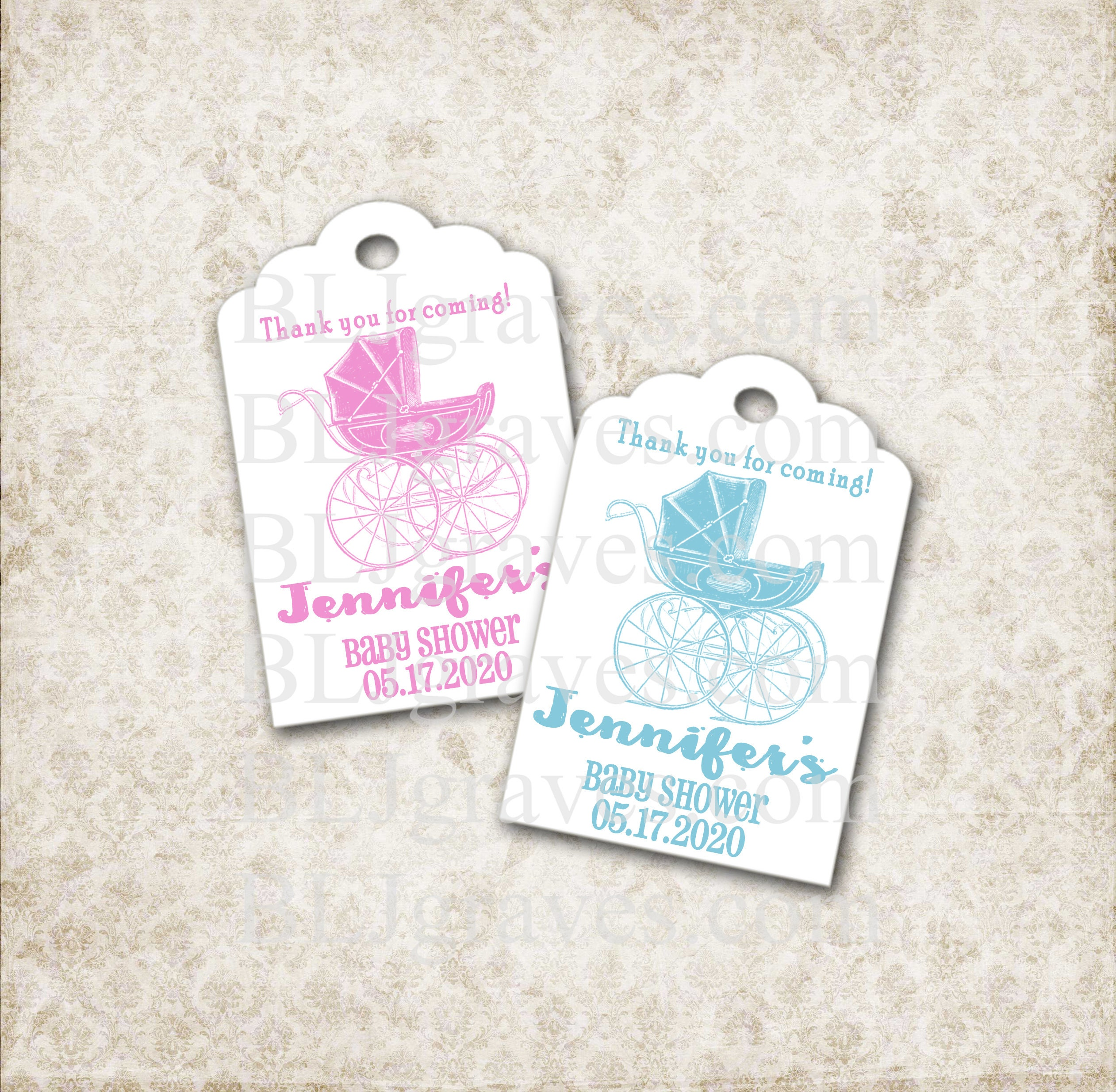 Custom Baby Shower Tags Personalized Shower Tags Thank You Etsy